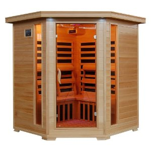 4 Person Corner Sauna FAR Infrared 10 Carbon Heaters Hemlock CD Player MP3 Aux New