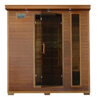 Harvil Retreat 4-Person Straight Red Cedar Sauna with Carbon Infrared Heaters